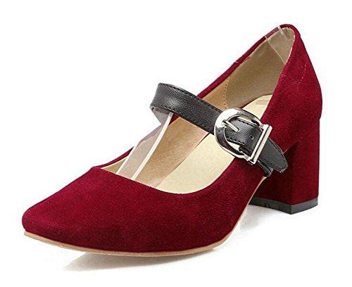 GLTER Women's Closed-Toe Pumps Wildleder Mary Jane Schuhe Court Schuhe Sandalen Rot Schwarz Braun Beige Red