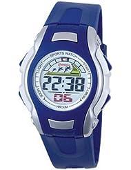 Montre digital Femme / Enfant - bracelet Plastique Bleu - Cadran Rond Fond Gris et Bleu - Marque Mingrui - MR8530
