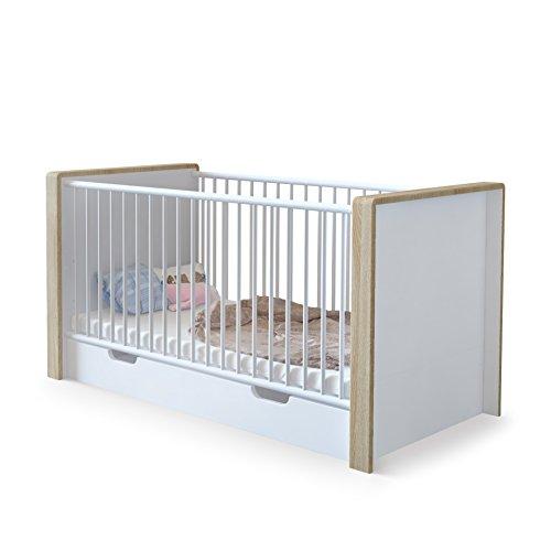 Lit bébé évolutif Nandini avec tiroir de lit, Corps en Blanc mat, Bandeaux en Chêne brut