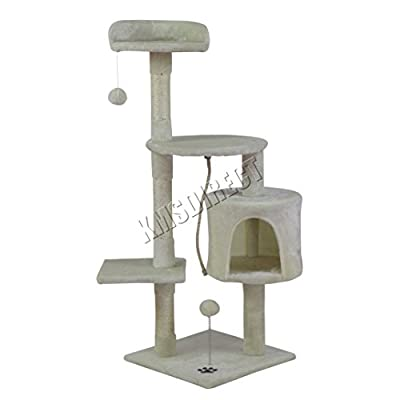 FoxHunter Deluxe Multi Level Cat Scratcher Cat Tree Activity Centre Scratching Post Climbing Sisal Toys CAT806 Beige Faux Fur
