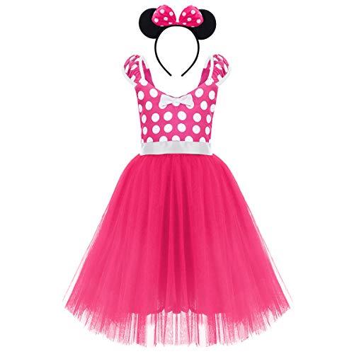FYMNSI Kleinkinder Baby Mädchen Gepunktet Tüll Kleid Prinzessin Geburtstag Polka Dots Tutu Ballettkleid Tanzkleid Kinder Weihnachtskleid mit Ohren Stirnband Outfit Fasching Karneval Bekleidungsset