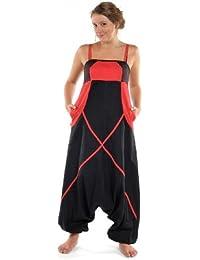 - Sarouel combinaison ethnique femme Neena noire et rouge -