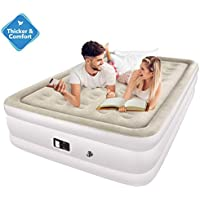 TOPELEK Queen Size Air Bed Double Size Flocked Cornerstone Inflatable Mattress with up to 270KG Capacity, Built-In Electric Pump, Storage Bag and Repair Patches Included for Guest,Rest,Travelling