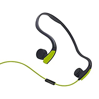 Bone Conduction Headphones Effie Wired headphones with Microphone Stereo Open-Ear Sport Headphone with Noise Reduction Microphone(Green)