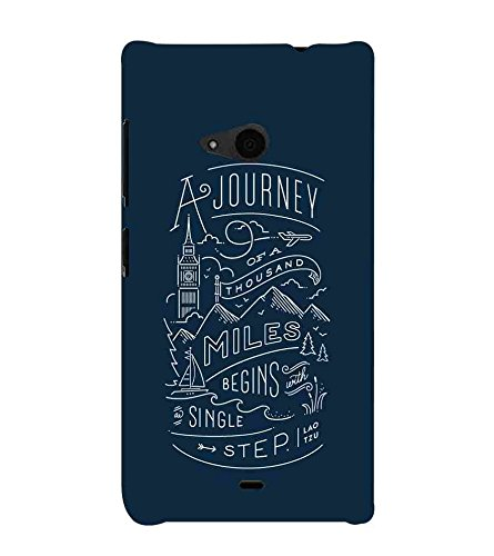 For Microsoft Lumia 535 :: Microsoft Lumia 535 Dual SIM :: Nokia Lumia 535 a journey of a thousand miles begins single step, good qoutes, blue background Designer Printed High Quality Smooth Matte Protective Mobile Case Back Pouch Cover by APEX  available at amazon for Rs.345