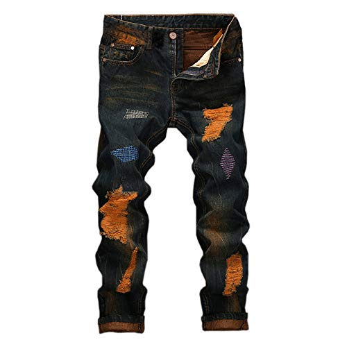 GreatestPAK Jeans Herren Hip Hop Arbeitshose Vintage Wash Denim Baumwollhose -