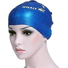 Ballena esculturales gorros de natación de silicona para mujeres y hombres, azul