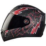 Steelbird SBA-1 R2K LIVE Full Face Helmet in Matt Finish with Smoke Visor (Medium 580 MM, Matt Black/Red)