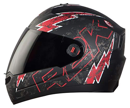 Steelbird SBA-1 R2K LIVE Full Face Helmet in Matt Finish with Smoke Visor (Large 600 MM, Matt Black/Red)