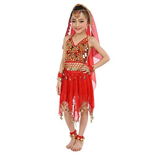 Amphia - Bauchtanz-Set für Mädchen-Indianertanz (ohne Schleier und Zubehör) - Handgemachte Kinder Mädchen Bauchtanz Kostüme Kinder Bauchtanz Ägypten Tanz (Top Gruppe Halloween Kostüme)