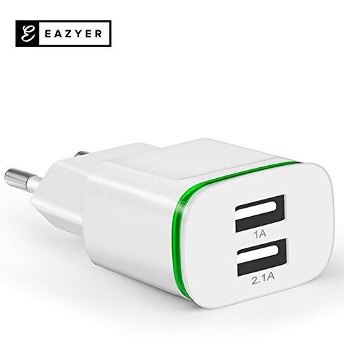 EAZYER DOPPEL USB LED LADEADAPTER SCHNELL LADEGERÄT STECKER NETZTEIL 2-FACH DOUBLE für Phone 7 / 7Plus/ 6 /