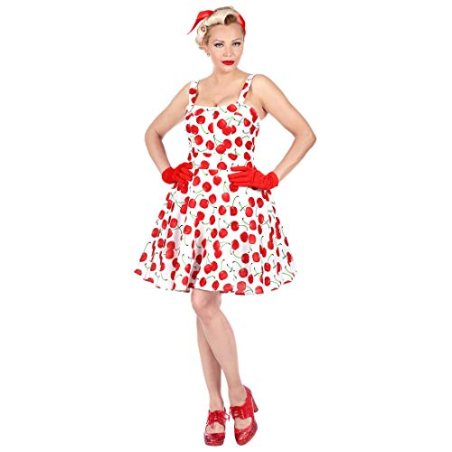 NET TOYS 50er Jahre Rockabilly Kleid mit Kirschen für Frauen | Weiß-Rot in Größe L (42/44) | Außergewöhnliche Damen-Bekleidung Vintage Pin-Up Dress | EIN Highlight für Mottoparty & Themenabend
