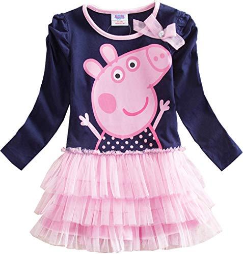 Baby Peppa Pig Kleid Mädchen Süß Rosa Kleid Ballett Kleid Prinzessin Kleid Girl Kleid (Rosa, 110 (4-5Y)) -
