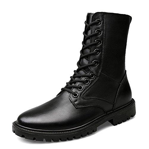 ailishabroy Schwarze Leder Stiefel Herren Kadett Schuhe Herren Trekking Wanderstiefel (43 EU) (Kadett Schuhe)