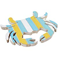 Generic 0634 Trivet, Crab cm, MDF, green, yellow and turquoise Dim. 20.5 x 1 cm, Wood, blue, white, yellow, 23 x 16 x 23.5 x 1.5 cm