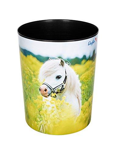 Läufer 26662 Motiv-Papierkorb Pferd im Rapsfeld, 13 Liter Mülleimer, perfekt für das Kinderzimmer, rund, stabiler Kunststoff