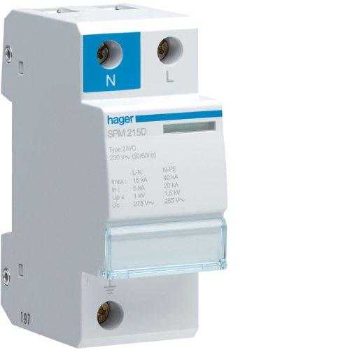 Hager spm215d Limiter Überspannungsschutz Monobloc-polig + neutral 15KA claseii