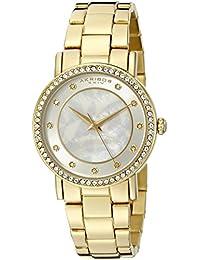 Akribos XXIV Reloj de cuarzo para mujer con plata esfera analógica pantalla y oro pulsera de acero inoxidable ak880yg