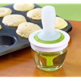 Zonku Kitchen Silicone Oil Bottle Brush Dispenser Glass Bowl Container and Silicone Pastry Brush Set for Cooking, BBQ, Baking