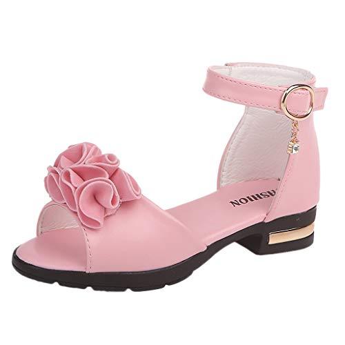 AIni Baby Schuhe Mode Beiläufiges Sale Kleinkind Kleinkind Kinder Baby Mädchen Blume Roma Prinzessin Schuhe Peep Toe Sandalen Kleinkinder Schuhe Krabbelschuhe Lauflernschuhe(29,Rosa) Patent Sling Strap Peep Toe