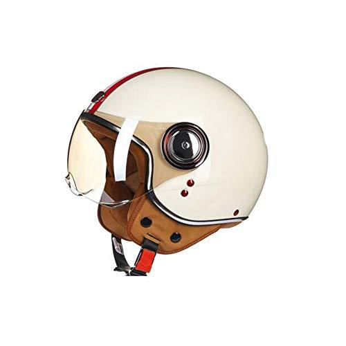 Motorrad-Helm Retro Unisex Vier Jahreszeiten Universal Harley Halb Abgedeckt Halbhelm Männer Und Frauen Winter Warm,Beige-58~60cm - Vier Jahreszeiten Textilien