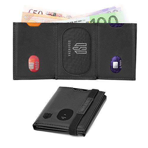 Carteras de Bloqueo RFID para Hombres con Bolsillo con Cremallera Monedero de Cuero Genuino pequeño y Triple con Caja de Regalo (Negro Mejorado)