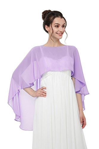 TBdresses Chiffon Braut Hochzeit Capes Wraps Frauen Abendkleid Stola Brautjungfer Schals Braut Wrape (Einheitsgröße, Lila) (Schals Und Wraps Für Hochzeit)