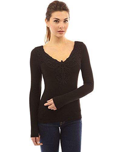 PattyBoutik femmes v cou dentelle de crochet encart blouse à manches longues Noir