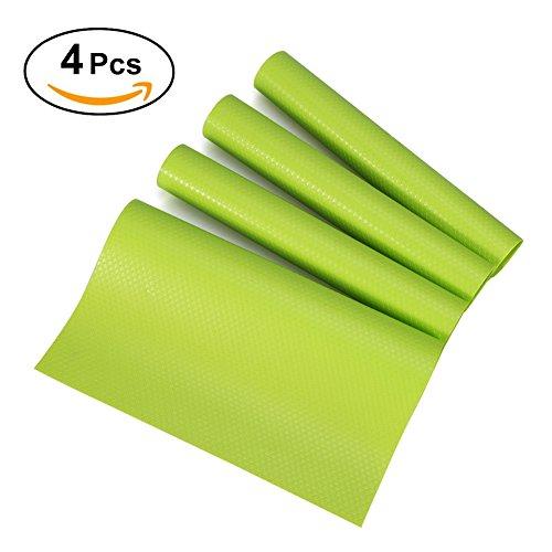 Yosoo 4 PCS/Set 29 cm * 45 cm Fashion Kühlschrank Pad antibakteriell Antifouling Mehltau Feuchtigkeitsaufnahme Einkochen Pad Kühlschrank Mats Kühlschrank Boden Kissen grün (Kissen, Kühlschrank)