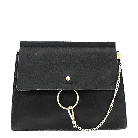 LeahWard® Damen AKreuzkörper Klappe Kette Taschen nett Handtasche Groß Marke 1046 (Schwarz Klappe)