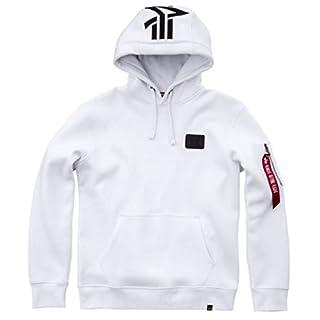 Alpha Back Print Hoody Kuscheliger Kapuzensweater mit Bauchtasche und Multifunktionstasche mit Siebdruck, Größe:M, Farbe:White