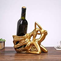 ZSR-haohai Creative Beauty Character Shape Wine Bottle Holder Fashion Wine Rack Resin Ornaments Wine Bottle Rack (Color : B)