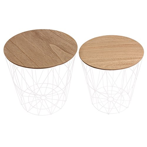 THE HOME DECO FACTORY HD3833 Tables FILAIRES X2 Bois ET Metal MDF, Blanc, 40x40x40,5 cm