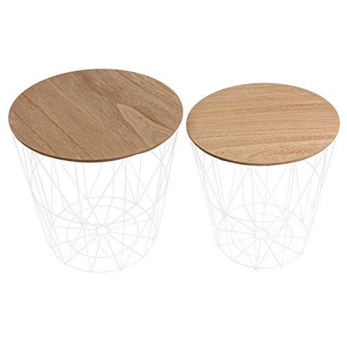 THE HOME DECO FACTORY HD3833 Tables Filaires x2 Bois et Metal MDF + metal Blanc 40x40x40.5 cm