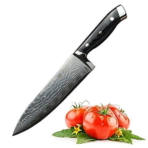 SWITYF Damas Couteau de chef 20cm professionel,acier japonais VG10. poignée ergonomique faite de matériaux composites G10.Super Couteau de cuisine