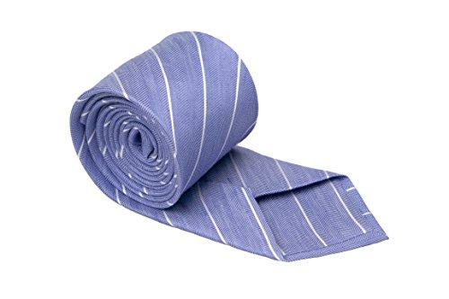 Notch Krawatte aus Leinentuch für Herren - Blaues Fischgrätenmuster und dünne, weisse Streifen