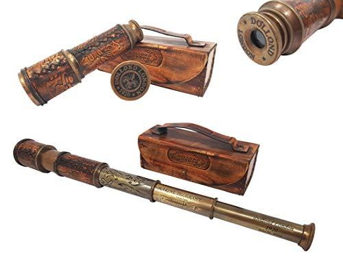 The New Antique Store Catalejo pirata de latón-50cm de largo, incluye funda de piel