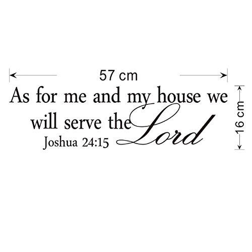 GHJL Wie für Mich und Mein Haus berühmte Zitat Wandtattoos Vinyl Aufkleber Bibel Verse Gerüchte Wandaufkleber 16 cm x 57 cm