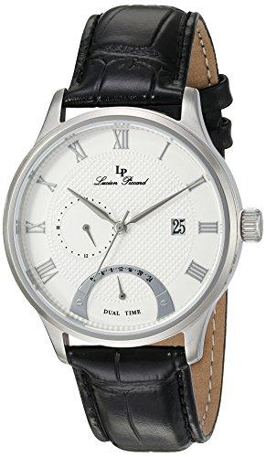 Lucien Piccard uomo 'Volos' al quarzo, in acciaio INOX e pelle nera casual Watch (Model: lp-10339–02S)
