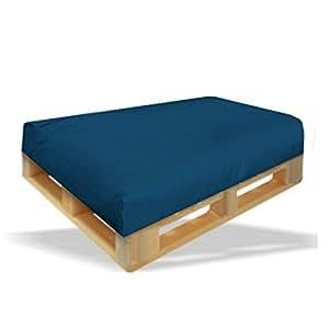 Dibapur coussin - 120 x 80 x 15 cm-couleur :  bleu-in & -palettenpolster outdoor pour palettes europe