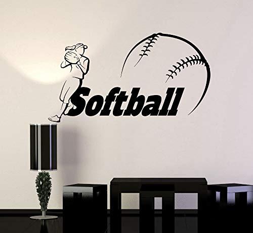 BailongXiao Adesivo da Parete Rimovibile Soggiorno Decorazione Camera da Letto Donna Giocatore Softball Palla Sport Vinile Adesivo murale 133.2X75.6cm