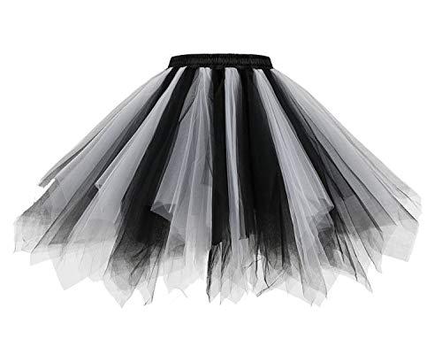 HomRain 1950 Petticoat Tutu Unterrock Underskirt für Rockabilly Kleid Black-White S