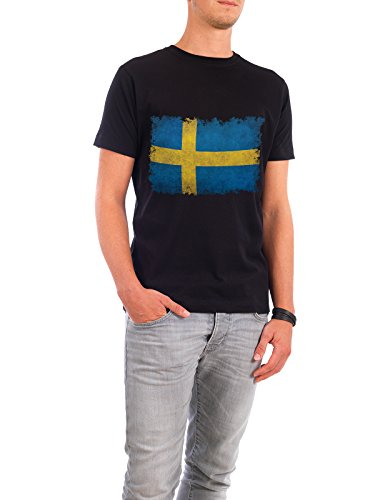 "Design T-Shirt Männer Continental Cotton ""Flag of Sweden"" - stylisches Shirt Reise Reise / Länder von Bruce Stanfield Schwarz"