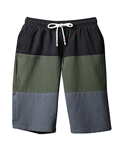 Uomo Casual Baggy Shorts Pantaloni Da Jogging Sportivi Pantaloni Corti Bermuda Shorts Pantaloni Con Coulisse Esercito Verde