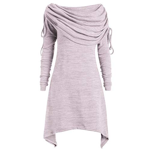 Kolila Frauen Tunika Oberteile Unregelmäßige Langarmshirts Pullover Damen Geraffte Faltkragen Einfarbig Tops Bluse Übergröße