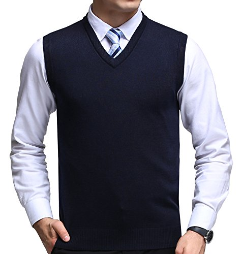 FULIER Mens Winter V-Neck Sleeveless Vest Classic Business Gentleman Knitwear Knitted Waistcoat Sweater Cardigans Tank Tops (Large, Navy)