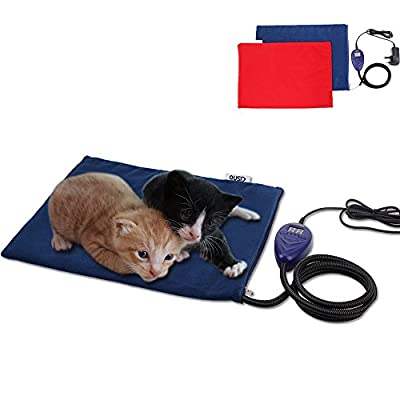 aokur Pet Heat Pad, Electric Cat Dog Puppy Heater Bed Mat 7 Grade Temperature Control with 2 Free Soft Covers Thermal Protection 40*30cm