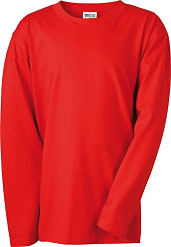 JAMES & NICHOLSON Langarm T-Shirt aus Single-Jersey für Kinder Red