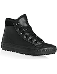 Converse Chuck Taylor All Star Weatherized Junior Black Leather Ankle Boots