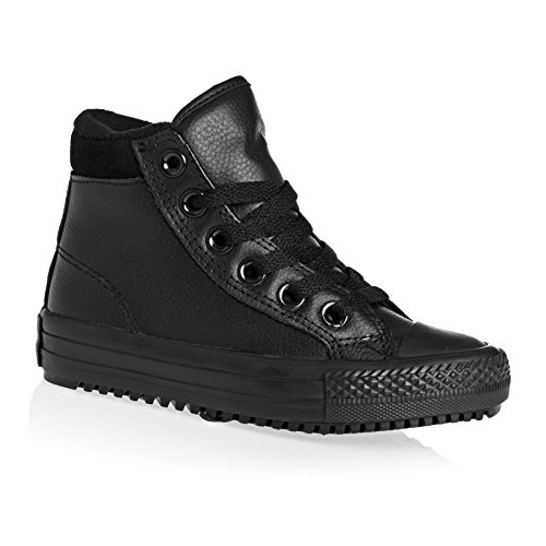 Converse Chuck Taylor All Star Weatherized Junior Black Leather Ankle Boots Nero (black-thunder)
